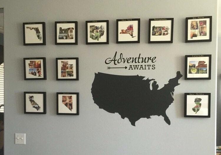 Modern Map Art, Travel Photo Wall