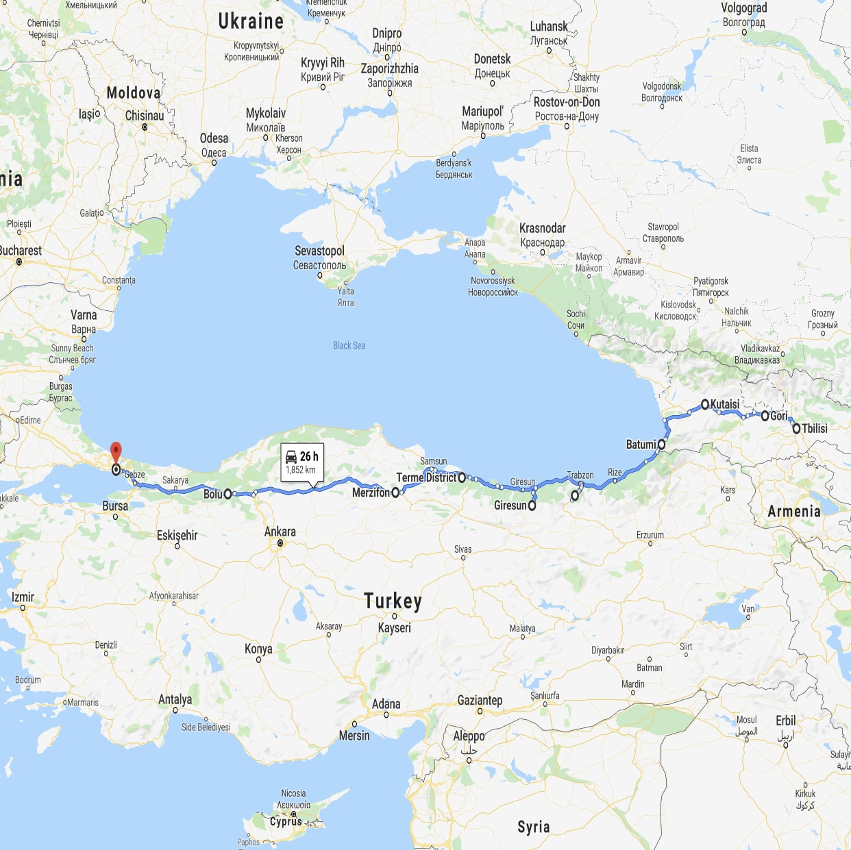 Map of route from Tbilisi to Istanbul