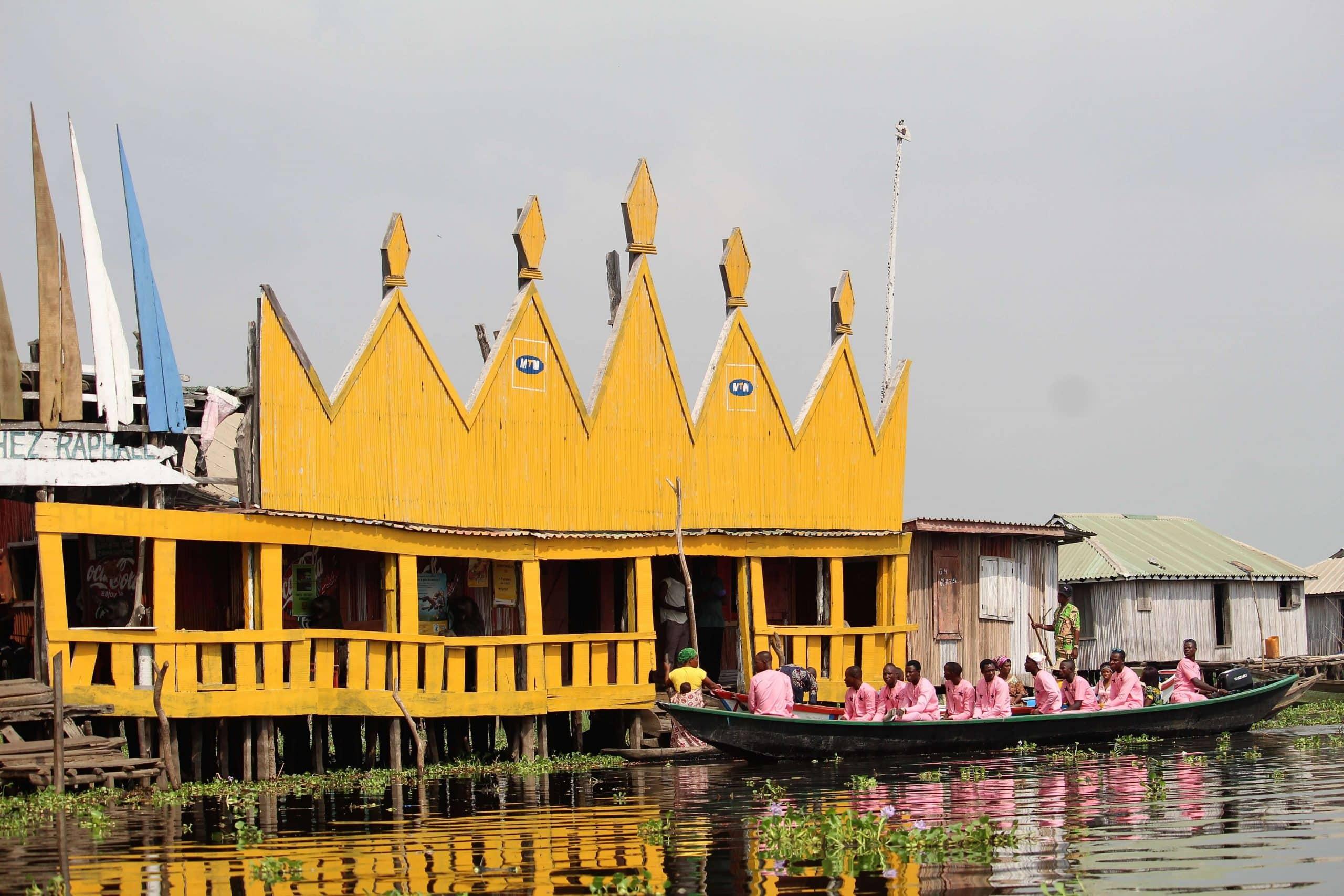Floating hotel in Ganvie, Benin